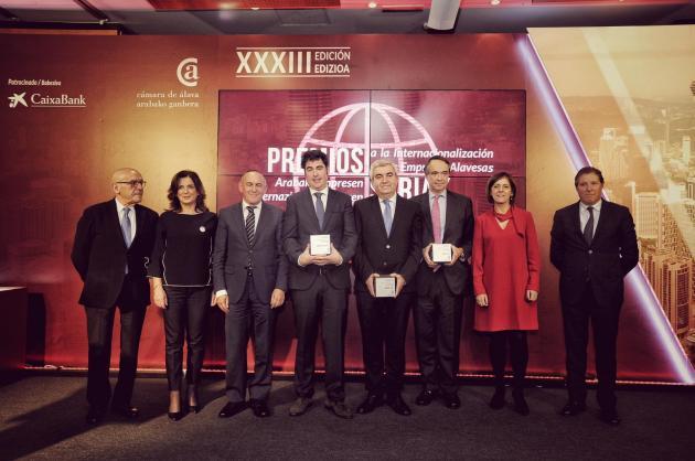 La Cámara de Álava entrega a Okendo Txakolina, Zayer y Vidrala los Premios a la Internacionalización 2018